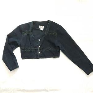 Cropped Lace Trim Black Denim Jacket 80s Vintage